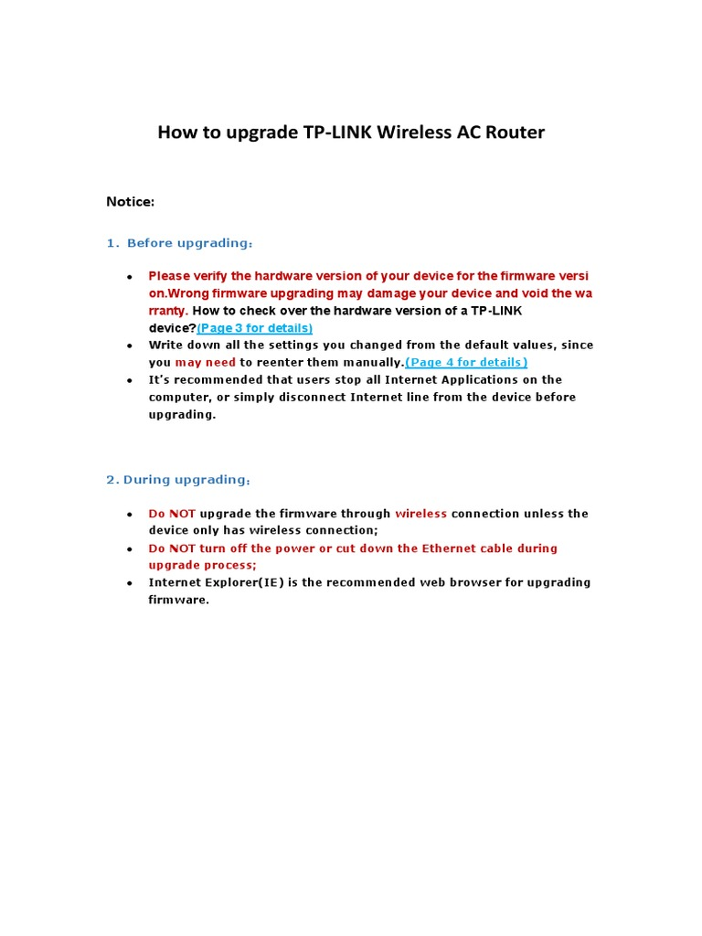 How to upgrade TP-LINK Wireless AC Router pdf   Internet