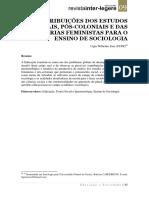 As Contribuições Dos Estudos Culturais, Pós Coloniais e Das Teorias Feministas Para o Ensino Da Sociologia