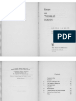 Georg Lukacs, Essays on Thomas Mann, Tr. Stanley Mitchell