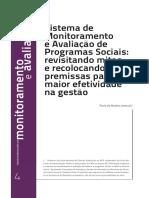 JANNUZZI - 2013 - Sistema de Monitoramento e Avaliação de Programas Sociais
