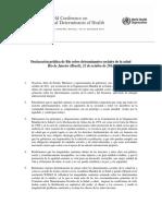 Declaración Política de Río Sobre Determinantes Sociales de La Salud