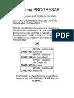 Datos Para El Llenado Del Formulario Del Programa Progresar