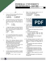 2713[[Myexampoint.com]]FUTA Physics Post Utme Questions