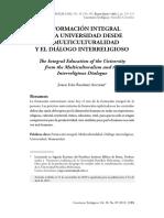 La Formación Integral de La Universidad Desde La Multiculturalidad y El Diálogo Interreligioso.