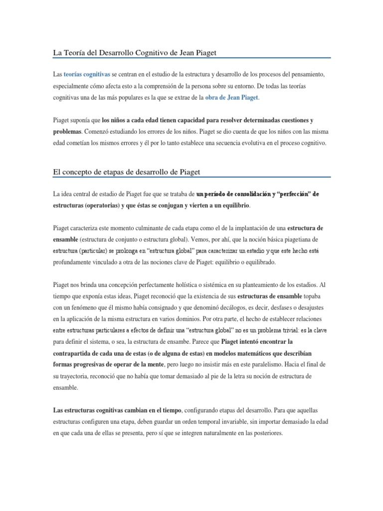 Teoría Del Desarrollo Cognitivo De Jean Piaget