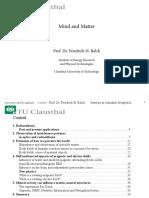 Mind and Matter (Presentation) by Prof. Dr. Friedrich H. Balck (2012)