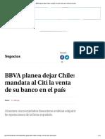 BBVA planea dejar Chile_ mandata al Citi la venta de su banco en el país