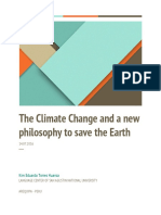 The Climate Change and a New Philosophy to Save the Earth