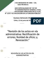 Revisión, Rectificación, Nulidad y Revocación de Los Actos Administrativos