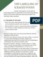 Mandatory Labelling of Prepackaged Foods