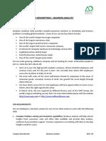 Job Description - Business Analyst