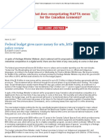 The Globe and Mail_ Federal Budget Gives More Money for Arts, Little Sign of Cultural Policy Review
