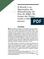 O Brasil e as Operações de Manutenção Da Paz Da ONU Os Casos Do Timor Leste e Haiti