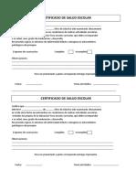 Certificado Medico Escolar