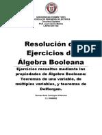 Resolución de Ejercicios mediante el Algebra Booleana