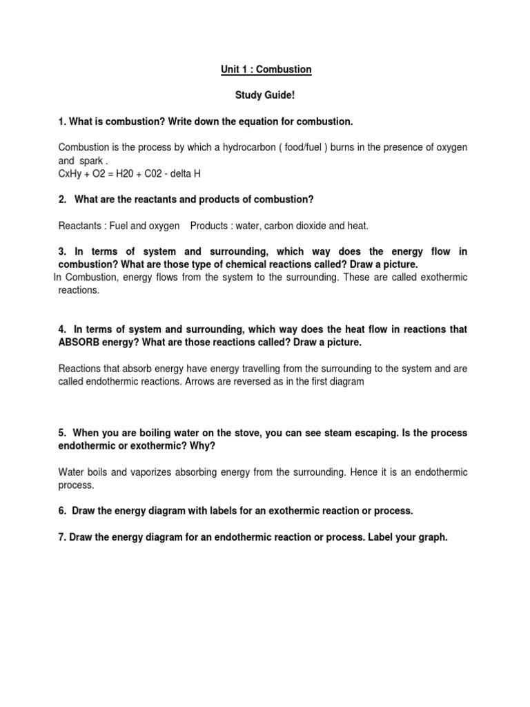 Answer key study guide unit 1 evaporation combustion pooptronica Images
