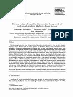 Dietary Value Benthic Diatoms for the Growth of Postlarval Abalone Haliotis Discus Hannai