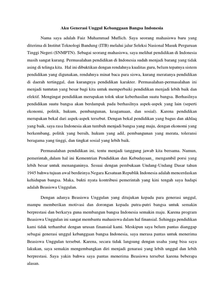 essay aku generasi unggul bangsa indonesia