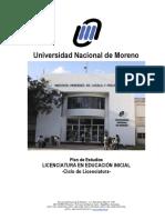 Plan de Estudios Licenciatura en Educación Inicial