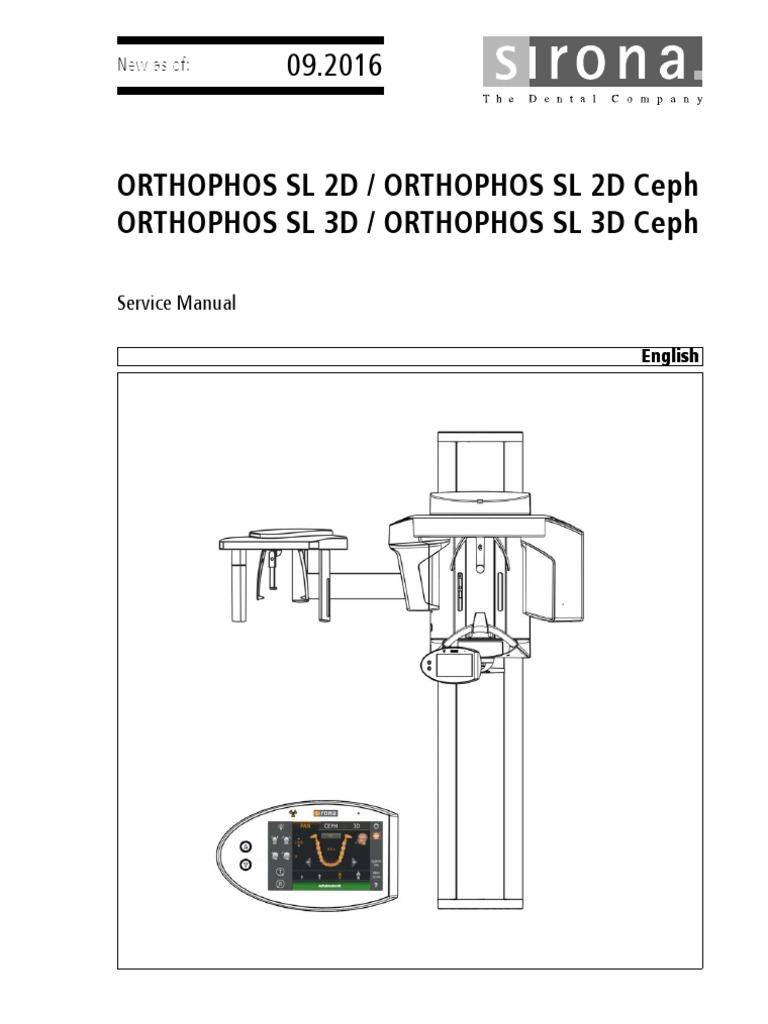 Sirona Orthophos SL Dental X-Ray - Service Manual   Calibration    Manufactured Goods