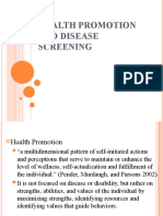Health Promotion and Disease Screening