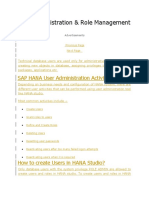 HANA User Administration & Role Management