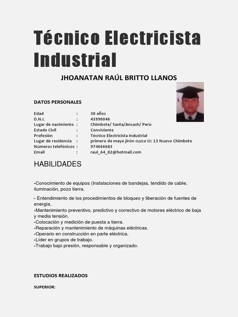 Hermosa Curriculum Vitae Del Electricista Industrial Imágenes ...