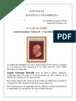 Los Papas en la #Filatelia Colombiana. Autor Bernardo González White