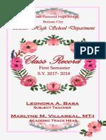 Filipino Class Record
