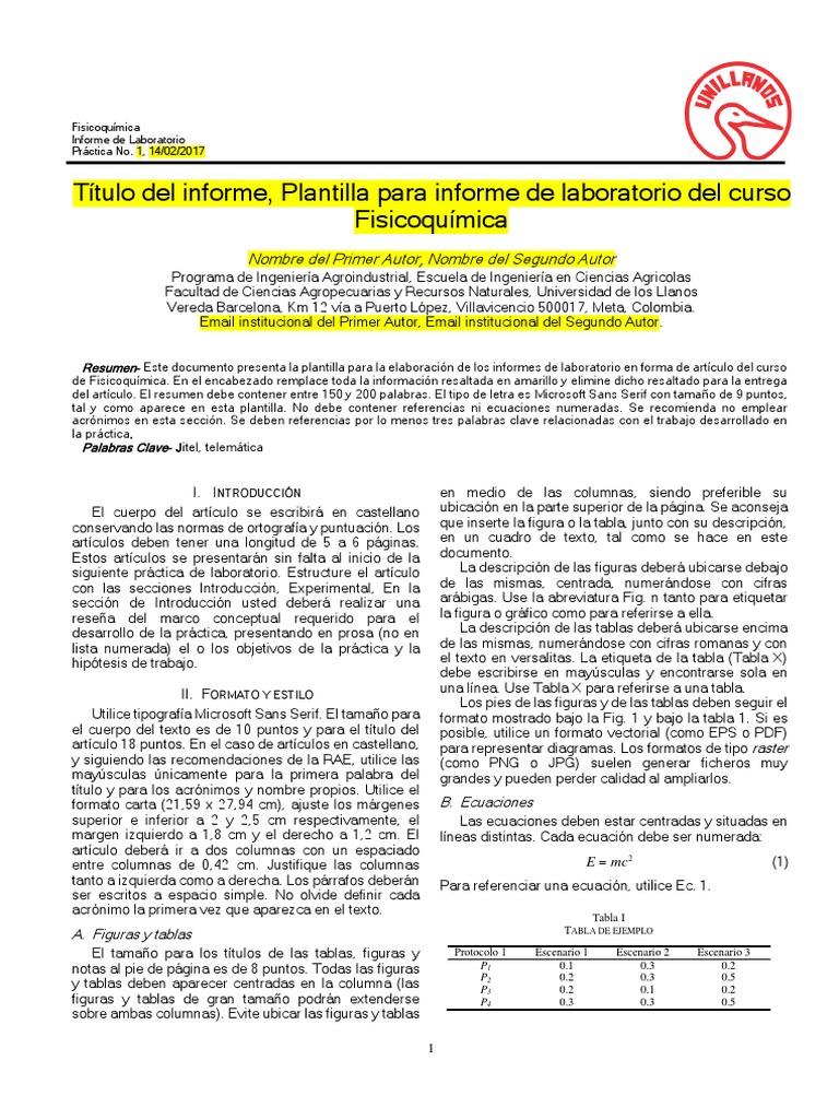 Plantilla informe Fisicoquímica