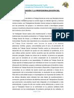 Institucionalización y La Profesionalización Del Trabajo Social
