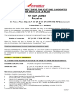 Notification Air India Limited Sr Trainee Pilot Posts