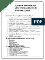 Lineamientos de Investigación Nacionales e Internacionales en Ingenieria Quimica