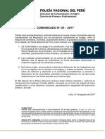 COMUNICADO PNP N° 34 - 2017