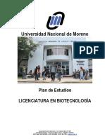 Plan de Estudios Licenciatura en Biotecnología
