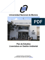 Plan de Estudios Licenciatura en Gestión Ambiental