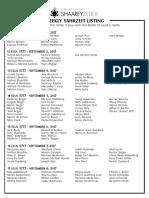 September 2, 2017 Yahrzeit List