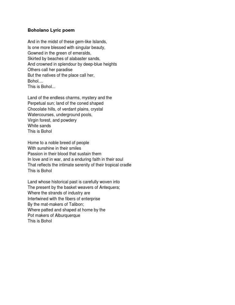 Lyric lyric poem examples : Boholano Lyric Poem