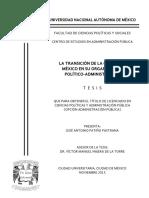 La transición de la Ciudad de México en su organización político-administrativa