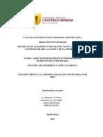 Análisis Crítico a La Reforma de Salud Comunitaria en El Perú