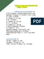 Formulas Para El Cálculo Infantil de Peso y Talla