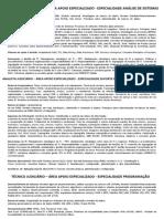 Edital Tst 2017 - Conteúdo Programatico - Cargos de TI