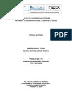 Primera Entrega - Proyecto Procesos Industriales