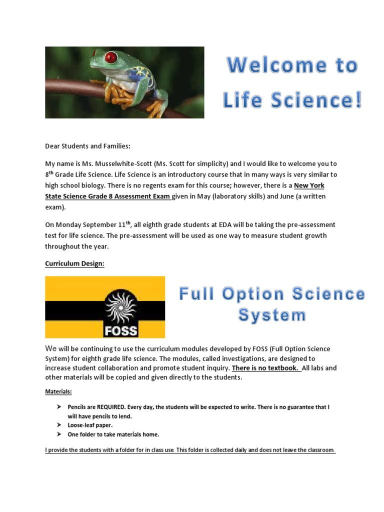 parent letter life science expectations eda   Test