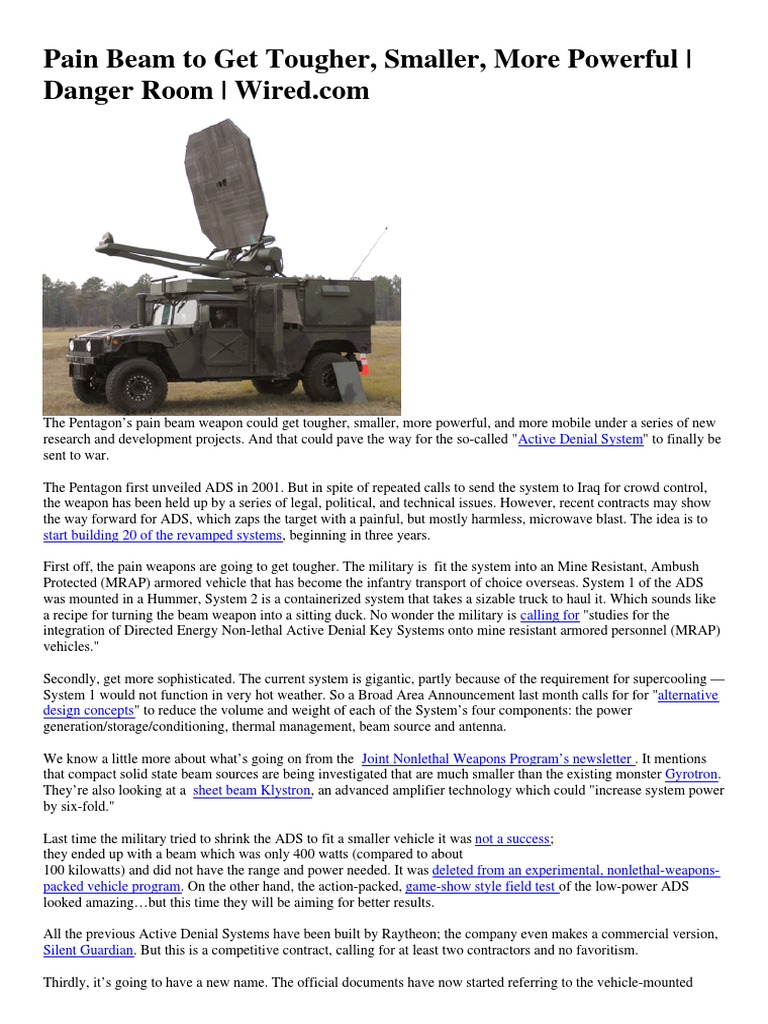 Wired.com - Pain Beam to Get Tougher, Smaller, More Powerful   Mrap ...