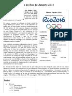 Juegos Olímpicos de Río de Janeiro 2016 - Wikipedia, La Enciclopedia Libre