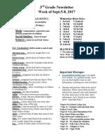 newsletter for sept 5-sept  8 20017wk 5