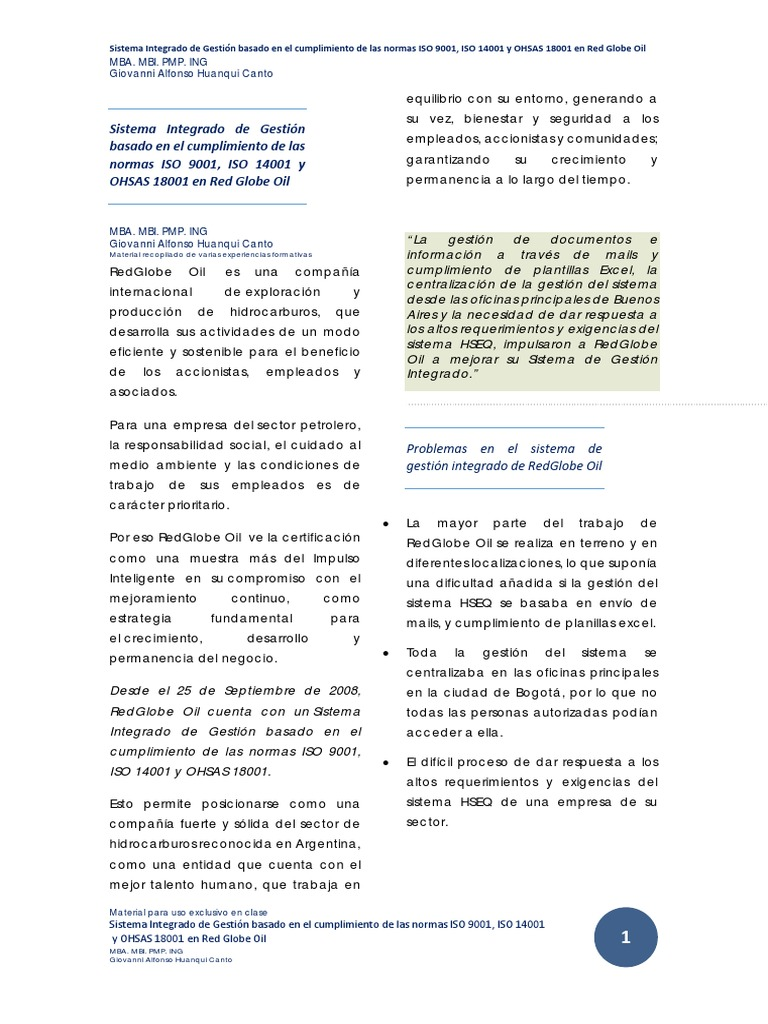 Caso 3 Sistema Integrado de Gestión Basado en El Cumplimiento de Las ...