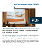 2016 DOE Fuel Economy Run Yields High Results