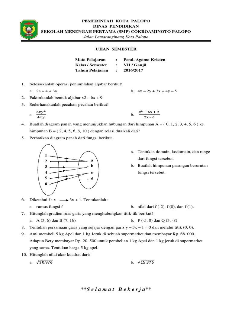 Soal semester ganjil matematika 2 ccuart Image collections